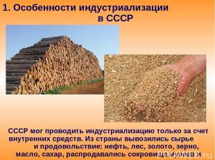 1. Особенности индустриализации в СССР СССР мог проводить индустриализацию тольк