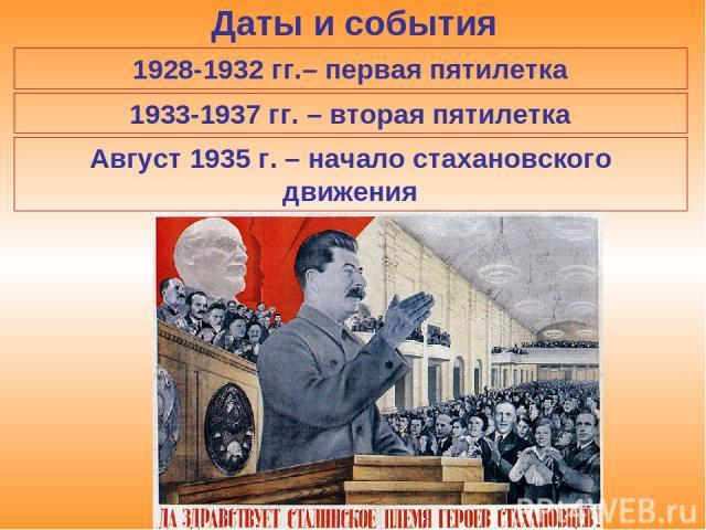 Даты и события 1928-1932 гг.– первая пятилетка 1933-1937 гг. – вторая пятилетка Август 1935 г. – начало стахановского движения