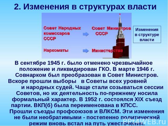 В сентябре 1945 г. было отменено чрезвычайное положение и ликвидирован ГКО. В марте 1946 г. Совнарком был преобразован в Совет Министров. Вскоре прошли выборы в Советы всех уровней и народных судей. Чаще стали созываться сессии Советов, но их деятел…