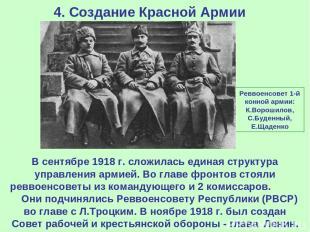 4. Создание Красной Армии В сентябре 1918 г. сложилась единая структура управлен