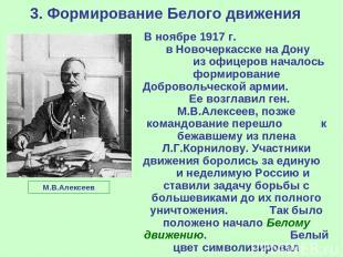 3. Формирование Белого движения В ноябре 1917 г. в Новочеркасске на Дону из офиц