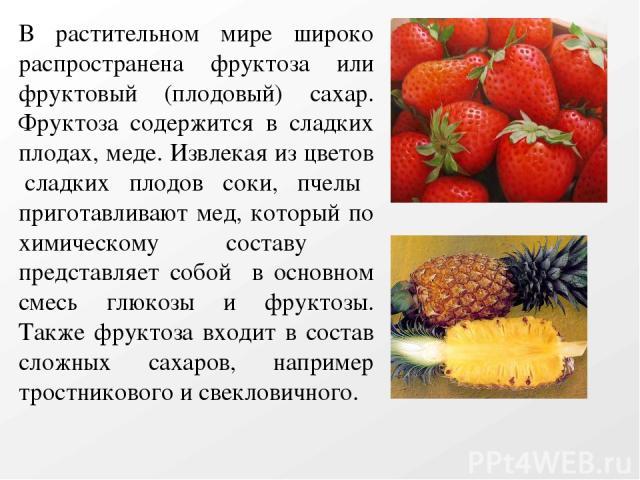 В растительном мире широко распространена фруктоза или фруктовый (плодовый) сахар. Фруктоза содержится в сладких плодах, меде. Извлекая из цветов сладких плодов соки, пчелы приготавливают мед, который по химическому составу представляет собой в осно…
