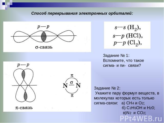Способ перекрывания электронных орбиталей: Задание № 1: Вспомните, что такое сигма- и пи- связи? Задание № 2: Укажите пару формул веществ, в молекулах которых есть только сигма-связи: а) СН4 и О2; б) С2Н5ОН и Н20; в)N2 и CO2;
