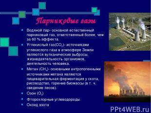 Парниковые газы Водяной пар- основной естественный парниковый газ, ответственный