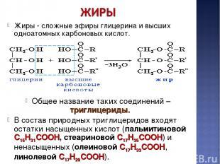 Жиры - сложные эфиры глицерина и высших одноатомных карбоновых кислот. Общее наз