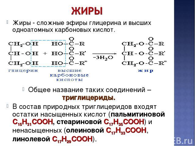 Жиры - сложные эфиры глицерина и высших одноатомных карбоновых кислот. Общее название таких соединений – триглицериды. В состав природных триглицеридов входят остатки насыщенных кислот (пальмитиновой C15H31COOH, стеариновой C17H35COOH) и ненасыщенны…