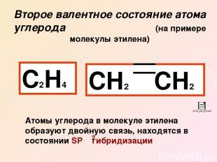 Второе валентное состояние атома углерода (на примере молекулы этилена) С2Н4 СН2