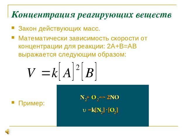 Концентрация реагирующих веществ Закон действующих масс. Математически зависимость скорости от концентрации для реакции: 2А+В=АВ выражается следующим образом: Пример: