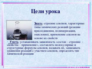 Цели урока Знать: строение алкенов, характерные типы химических реакций (реакции