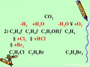 CO2 -H2 +H2O -H2O ↑+O2 2) C2H6→ C2H4→ C2H5OH→ C2H4 ↓+Cl2 ↓+HCl ↓+Br2 C2H5Cl C2H5