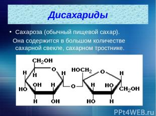 Дисахариды Сахароза (обычный пищевой сахар). Она содержится в большом количестве