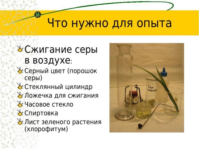 Что нужно для опыта Сжигание серы в воздухе: Серный цвет (порошок серы) Стеклянный цилиндр Ложечка для сжигания Часовое стекло Спиртовка Лист зеленого растения (хлорофитум)