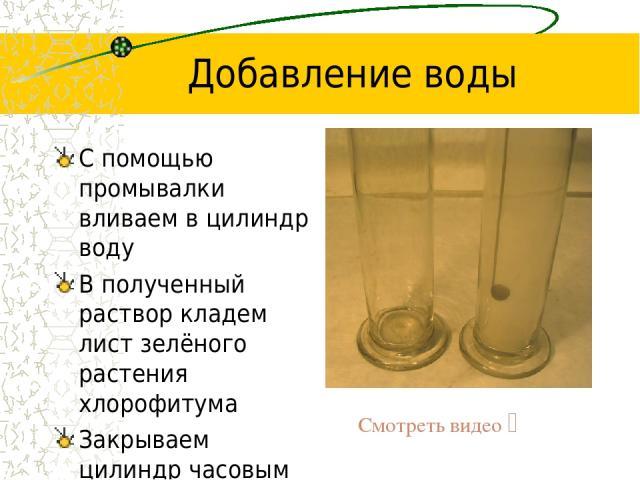 Добавление воды С помощью промывалки вливаем в цилиндр воду В полученный раствор кладем лист зелёного растения хлорофитума Закрываем цилиндр часовым стеклом и оставляем на сутки Смотреть видео