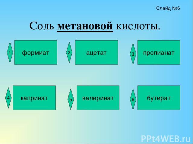 Соль метановой кислоты. формиат ацетат пропианат капринат валеринат бутират 1 2 4 3 5 6 Слайд №6