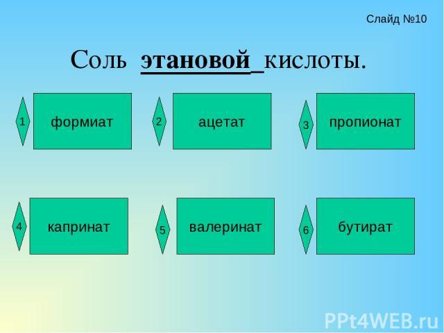 Соль этановой кислоты. формиат ацетат пропионат капринат валеринат бутират 2 3 1 4 5 6 Слайд №10
