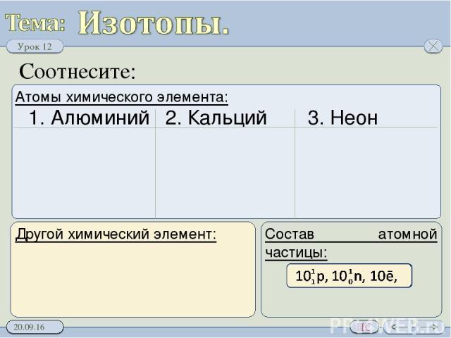 Соотнесите: Атомы химического элемента: Состав атомной частицы: 1. Алюминий 2. Кальций 3. Неон Урок 12 ПС