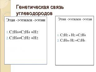 Генетическая связь углеводородов Этан ->этилен ->этин С2Н6=С2Н4 +Н2 С2Н4=С2Н2 +Н