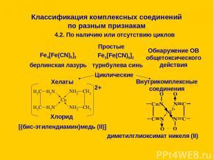 Классификация комплексных соединений по разным признакам 4.2. По наличию или отс
