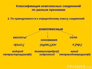 Классификация комплексных соединений по разным признакам 2. По принадлежности к