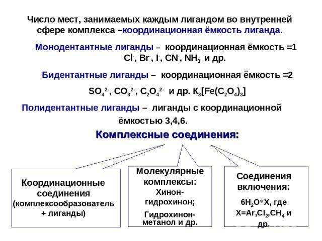 Комплексные соединения: Координационные соединения (комплексообразователь+ лиганды) Молекулярные комплексы: Хинон- гидрохинон; Гидрохинон-метанол и др. Соединения включения: 6Н2О*Х, где Х=Ar,Cl2,CH4 и др. Число мест, занимаемых каждым лигандом во вн…