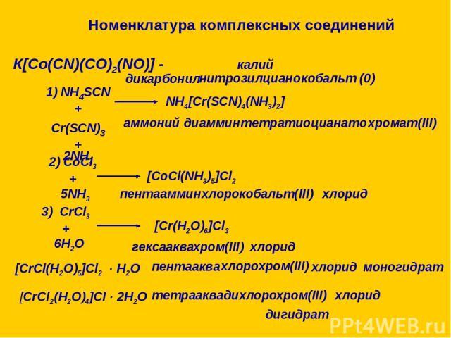 Номенклатура комплексных соединений К[Co(CN)(CO)2(NO)] - калий дикарбонил нитрозил циано кобальт (0) 1) NH4SCN + Cr(SCN)3 + 2NH3 NH4[Cr(SCN)4(NH3)2] аммоний диаммин тетратиоцианато хромат(III) 2) CoCl3 + 5NH3 [CoCl(NH3)5]Cl2 пентааммин кобальт(III) …
