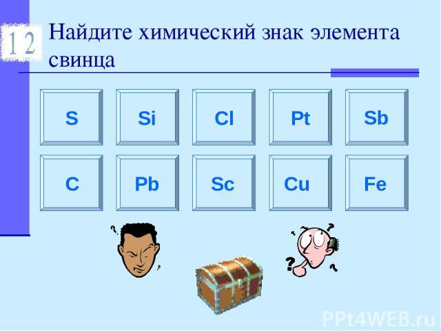 Найдите химический знак элемента свинца S Si Sc C Cl Pb Pt Sb Cu Fe
