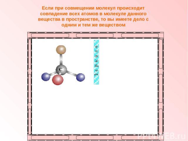 Если при совмещении молекул происходит совпадение всех атомов в молекуле данного вещества в пространстве, то вы имеете дело с одним и тем же веществом