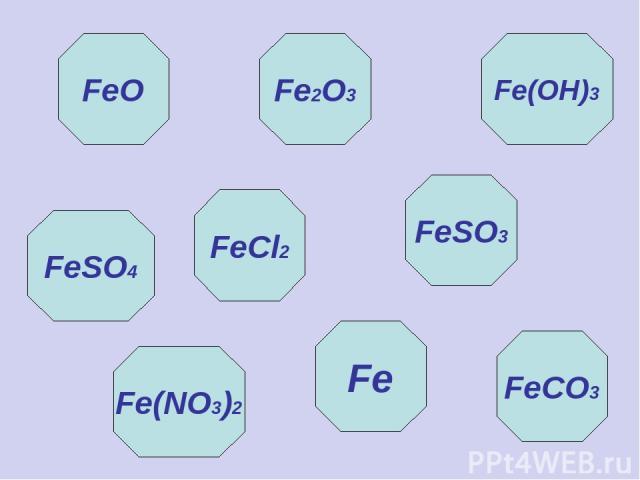 FeO Fe(OH)3 Fe2O3 FeSO4 FeCl2 Fe(NO3)2 Fe FeSO3 FeCO3