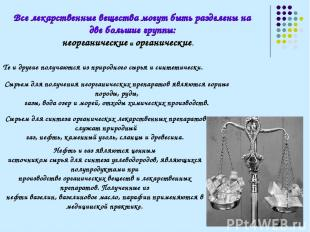 Все лекарственные вещества могут быть разделены на две большие группы: неорганич