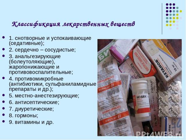 Классификация лекарственных веществ 1. снотворные и успокаивающие (седативные); 2. сердечно – сосудистые; 3. анальгезирующие (болеутоляющие), жаропонижающие и противовоспалительные; 4. противомикробные (антибиотики, сульфаниламидные препараты и др.)…