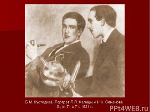 Б.М. Кустодиев. Портрет П.Л. Капицы и Н.Н. Семенова. X., м. 71 х 71. 1921 г.