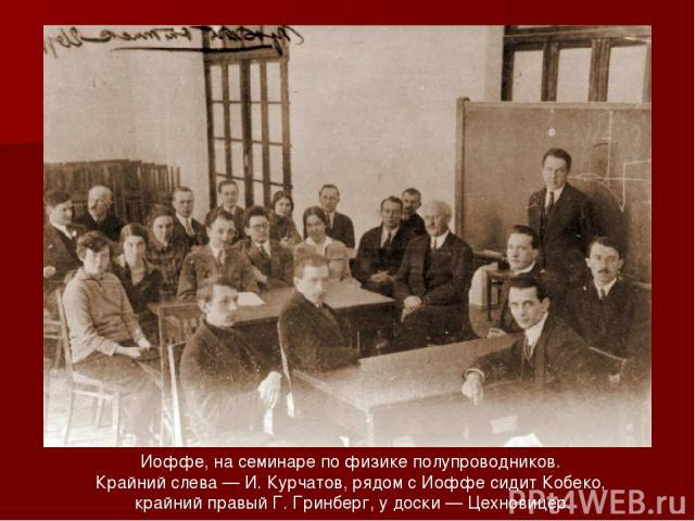 Иоффе, на семинаре по физике полупроводников. Крайний слева — И. Курчатов, рядом с Иоффе сидит Кобеко, крайний правый Г. Гринберг, у доски — Цехновицер.