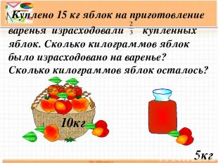 Куплено 15 кг яблок на приготовление варенья израсходовали купленных яблок. Скол