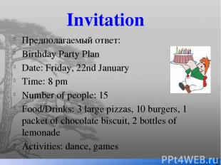 Invitation Предполагаемый ответ: Birthday Party Plan Date: Friday, 22nd January