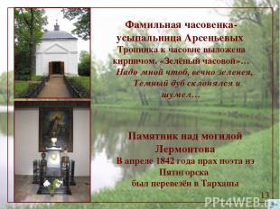 Фамильная часовенка-усыпальница Арсеньевых Тропинка к часовне выложена кирпичом.