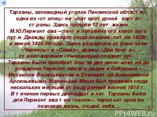 Тарханы, заповедный уголок Пензенской области, - одна из «столиц» на «литературн