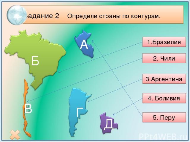 Задание 2 Определи страны по контурам. 1.Бразилия 2. Чили 3.Аргентина 4. Боливия 5. Перу