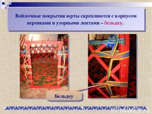Войлочные покрытия юрты скрепляются с корпусом веревками и узорными лентами – бе