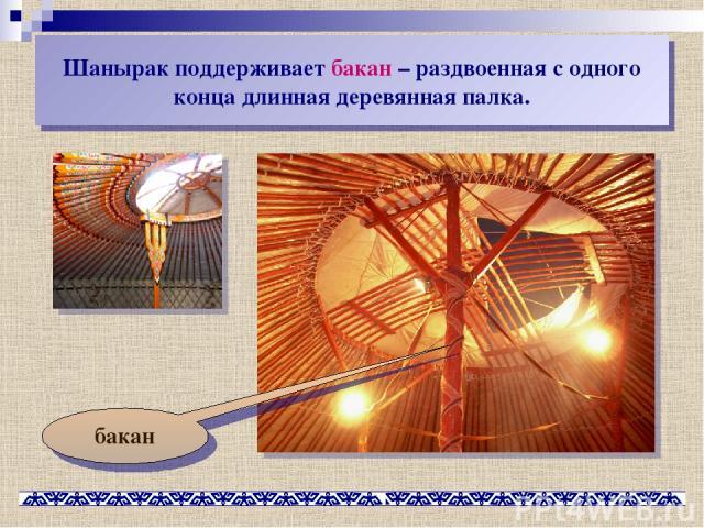 Шанырак поддерживает бакан – раздвоенная с одного конца длинная деревянная палка. бакан