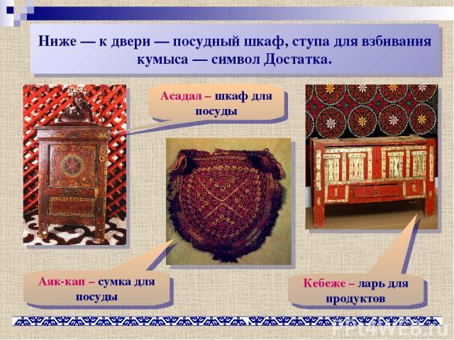 Ниже— к двери— посудный шкаф, ступа для взбивания кумыса— символ Достатка. Асадал – шкаф для посуды Кебеже – ларь для продуктов Аяк-кап – сумка для посуды