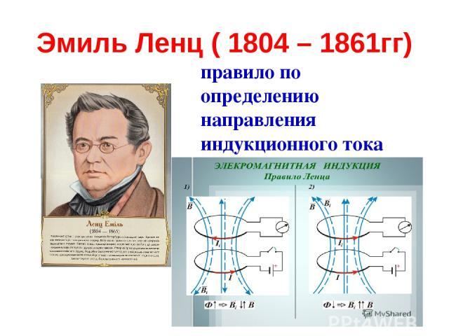 Эмиль Ленц ( 1804 – 1861гг) правило по определению направления индукционного тока