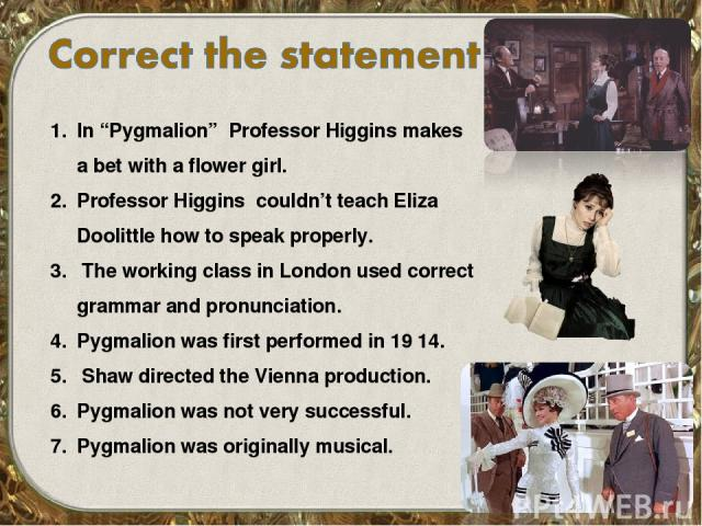 an analysis of professor higgins in the book pygmalion