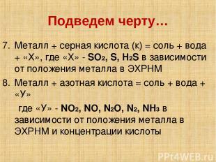 Подведем черту… Металл + серная кислота (к) = соль + вода + «Х», где «Х» - SO2,