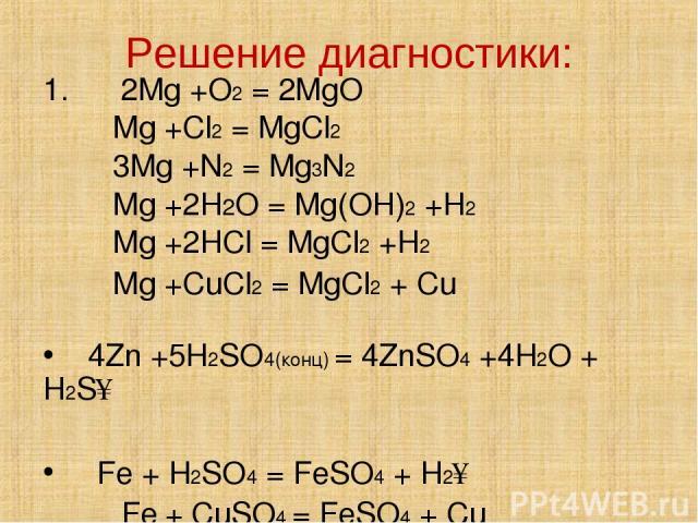 Решение диагностики: 1. 2Mg +O2 = 2MgO Mg +Cl2 = MgCl2 3Mg +N2 = Mg3N2 Mg +2H2O = Mg(OH)2 +H2 Mg +2HCl = MgCl2 +H2 Mg +CuCl2 = MgCl2 + Cu 4Zn +5H2SO4(конц) = 4ZnSO4 +4H2O + H2S↑ Fe + H2SO4 = FeSO4 + H2↑ Fe + CuSO4 = FeSO4 + Cu