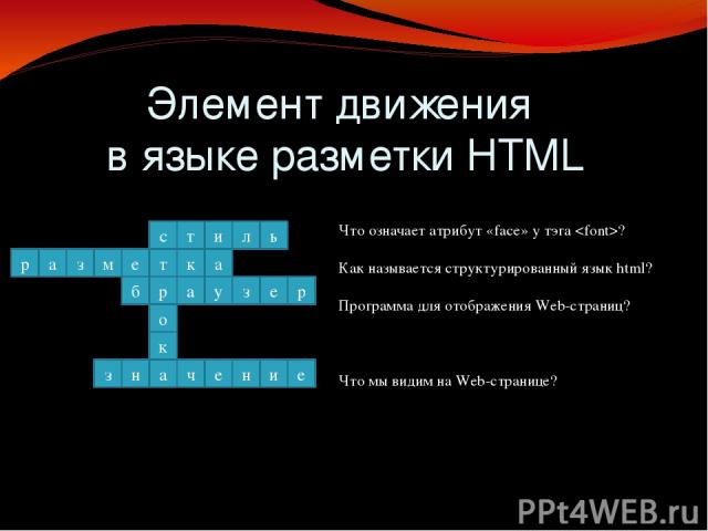 движения Элемент движения в языке разметки HTML