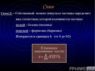 Спин Спин(J) – Собственный момент импульса частицы определяет вид статистики, ко