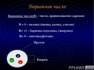 Барионное число Барионное число(В) – число, приписываемое адронам В = 0 – мезоны
