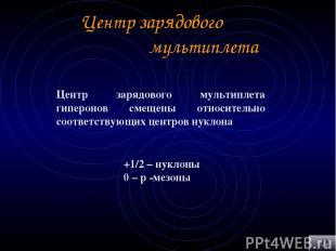 Центр зарядового мультиплета Центр зарядового мультиплета гиперонов смещены отно