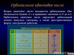 Орбитальное квантовое число Второе квантовое число называется орбитальным. Оно о