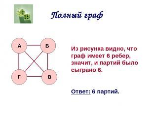 Полный граф А Б В Г Из рисунка видно, что граф имеет 6 ребер, значит, и партий б
